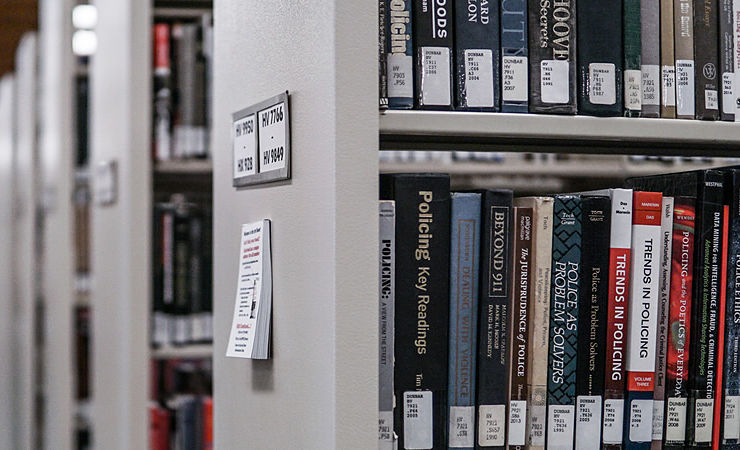 Academic books in library