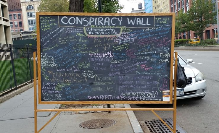 Conspiracy wall chalkboard in New York