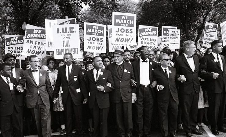 Martin Luther King and John Lewis march on Washington