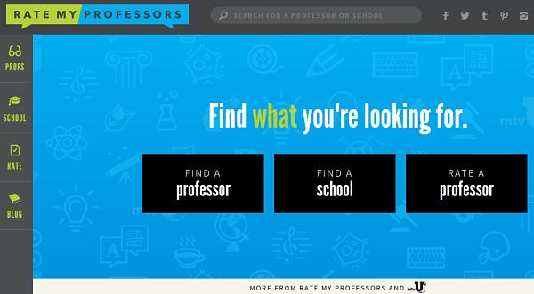 ratemyprofessor.com homepage